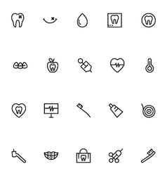 Dental Line Icons 4 vector