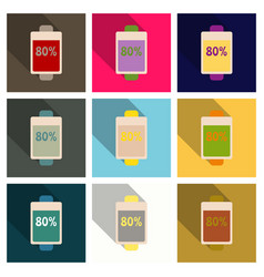 Discharged and fully charged battery smartphone vector