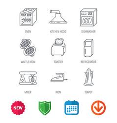 dishwasher refrigerator and blender icons vector image