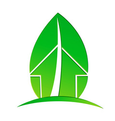 Ecological house with environmental leaf vector
