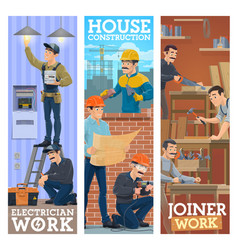 Electrician house construction and joiner workers vector
