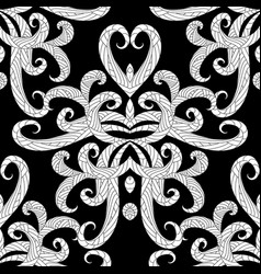 ethnic style floral black and white seamless vector image