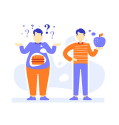 Fat and slim men thick and thin male person vector