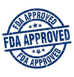 Fda approved blue round grunge stamp vector
