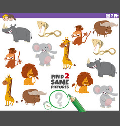 Find two same animals picture game for kids vector
