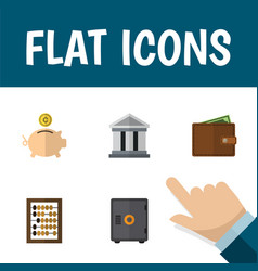 flat icon finance set of money box strongbox vector image