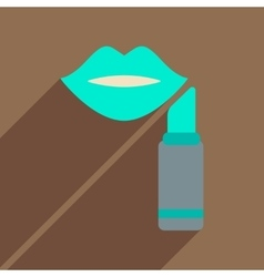 Flat icon with long shadow women lips lipstick vector