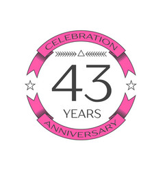 forty three years anniversary celebration logo vector image