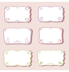 Frames set with love and nature objects vector image