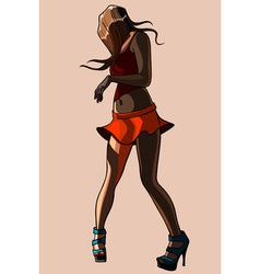 girl in a short skirt turns into a dance vector image