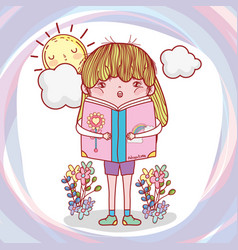 Girl read book with plants and sun vector