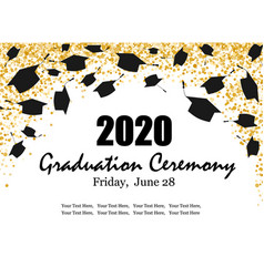 graduation class ceremony 2020 greeting cards vector image