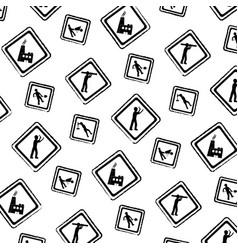 grunge diamond caution emblem to industry vector image