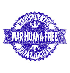 Grunge textured marihuana free stamp seal with vector