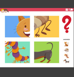 Guess cartoon animals game for children vector
