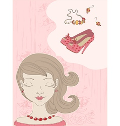 hand drawn pink background with girl vector image