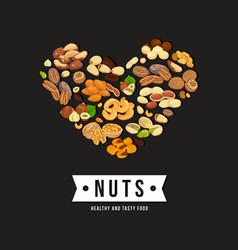 heart shaped nuts as banner for vegetarian food vector image