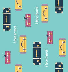 I love travel pattern Vintage luggage background vector