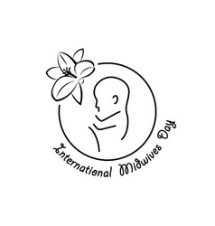 International midwives day linear emblem vector