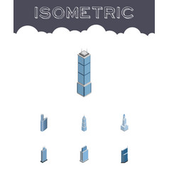 Isometric building set of exterior apartment vector