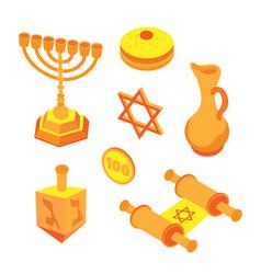 isometric flat hanukkah set jewish holidays icons vector image