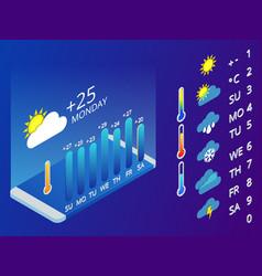 isometric set weather application design vector image