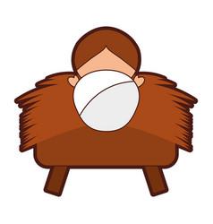 Jesus baby in straw cradle manger vector