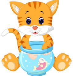 Kitten fishing for gold fish vector