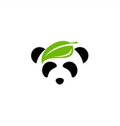 leaf panda logo design vector image