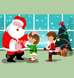 little kids with santa claus vector image