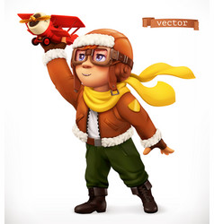 Little pilot with toy airplane comic character 3d vector