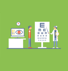 male patient at ophthalmologist doctors vector image