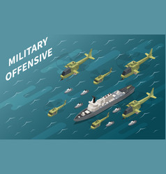 military air forces operation isometric vector image