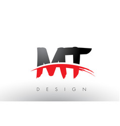 Mt m t brush logo letters with red and black vector