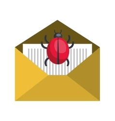 Open yellow envelope with ladybug insect vector