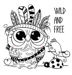 owl with feathers outlined for coloring book vector image