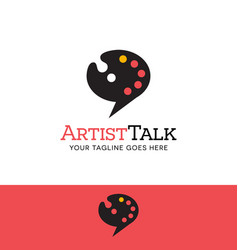 Paint palette talk bubble logo vector