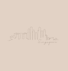Pen line silhouette singapore beige vector