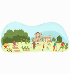 people planting garden plants and agriculture vector image