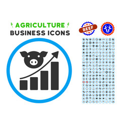 Pig growing chart rounded icon with set vector