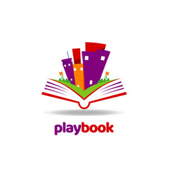 playful book open logo template vector image