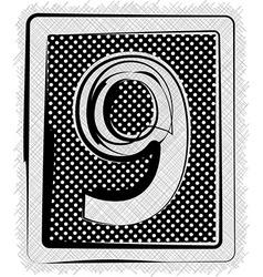 Polka Dot Font NUMBER 9 vector image