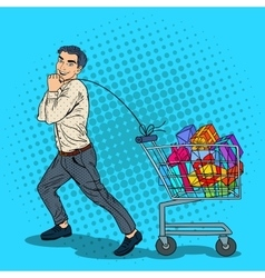 Pop Art Happy Man with Shopping Cart full of Gifts vector