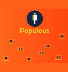 populous cryptocurrency blockchain network concept vector image