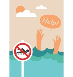 Prohibition forbidden sign for no swimming vector image