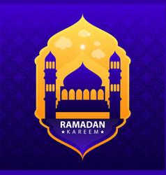 ramadan kareem on blue abstract background vector image