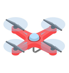 Red drone icon isometric style vector