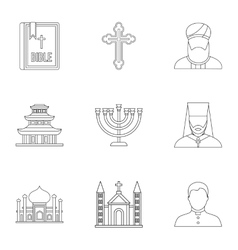 Religion icons set outline style vector