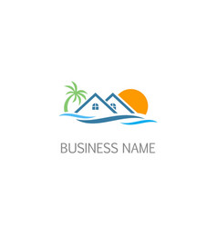 resort beach holiday beach sunset logo vector image