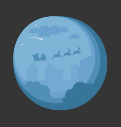 santa sleigh flying over night village christmas vector image